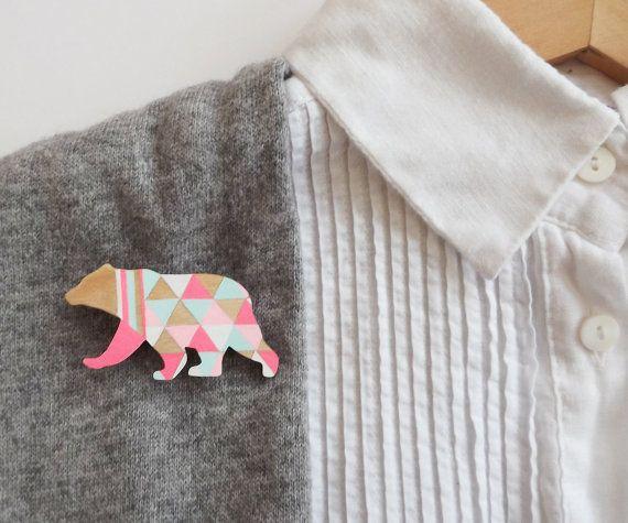Geometric Neon Bear Brooch Harlequin Wooden Bear Pin by SketchInc
