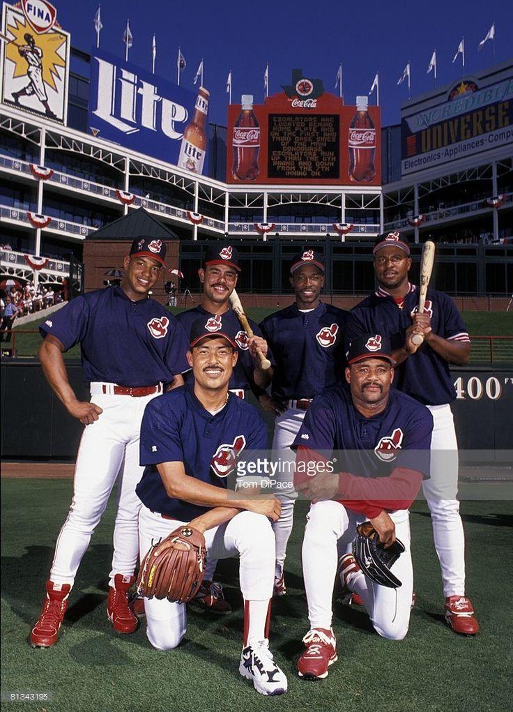 MLB All Star Game, Portrait of (L-R) Top Row: Cleveland Indians Manny Ramirez (24), Carlos Baerga (9), Kenny Lofton (7), and Albert Belle (8), Bottom Row: Dennis Martinez (32) and Jose Mesa (49) during All Star Weekend, View of scoreboard at Ballpark in Arlington, stadium, Arlington, TX