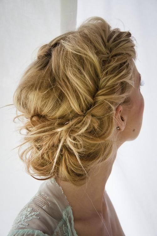 271 best wedding hairstyles images on pinterest wedding veils tossled braid wedding hairstyle junglespirit Image collections