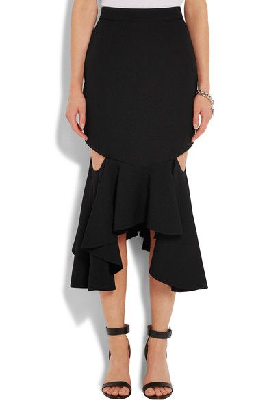 Black wool Cutouts, ruffled asymmetric hem  Concealed hook and zip fastening at back 100% wool; trim: 50% cotton, 50% viscose; lining: 71% acetate, 29% silk  Dry clean Made in France