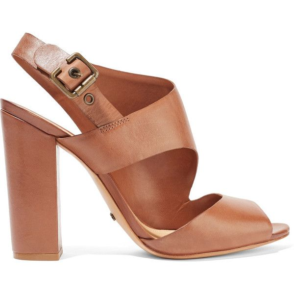 Schutz - Norina Cutout Leather Sandals ($88) ❤ liked on Polyvore featuring shoes, sandals, brown, strappy leather sandals, strappy block heel sandals, stiletto sandals, strap sandals and high heel shoes