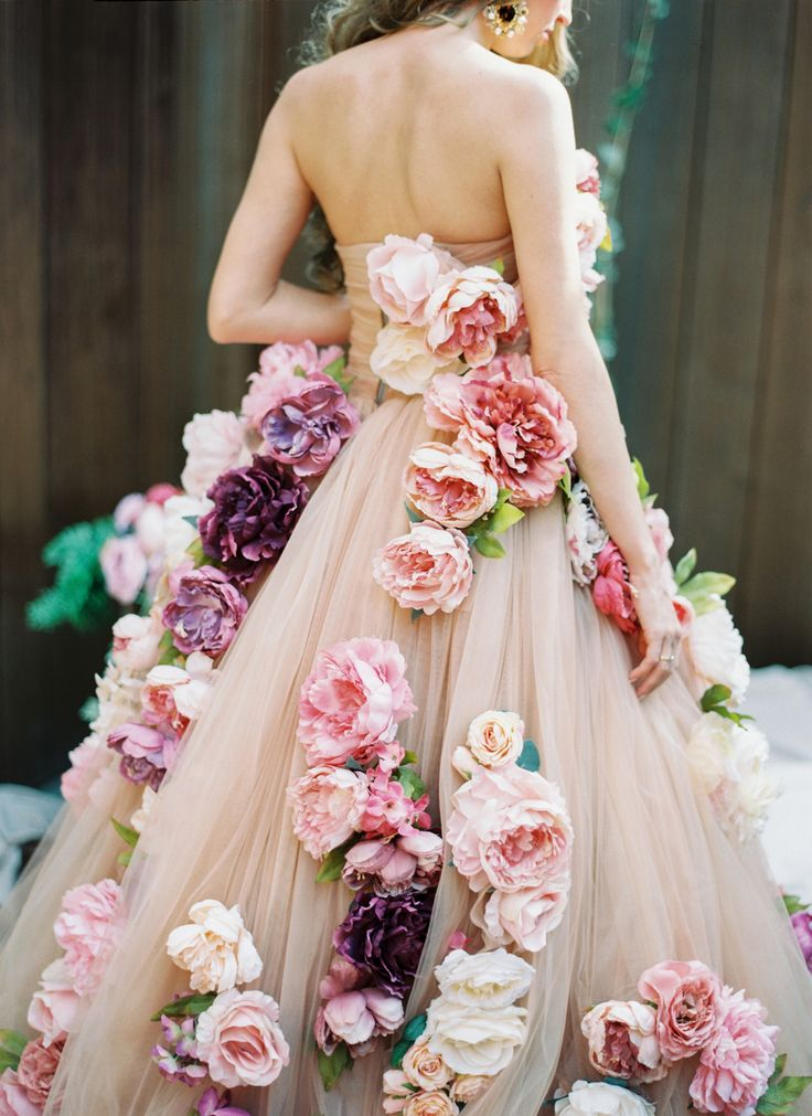 """""""Couture wedding dress photographed by Lena Kozhina """" Why carry a bouquet when you can wear it instead?"""