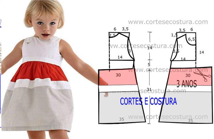 A pedido de algumas seguidoras hoje vou publicar este molde de vestido infantil para meninas dos 3 aos 4 anos com medidas. Vestido de criança de corte e...