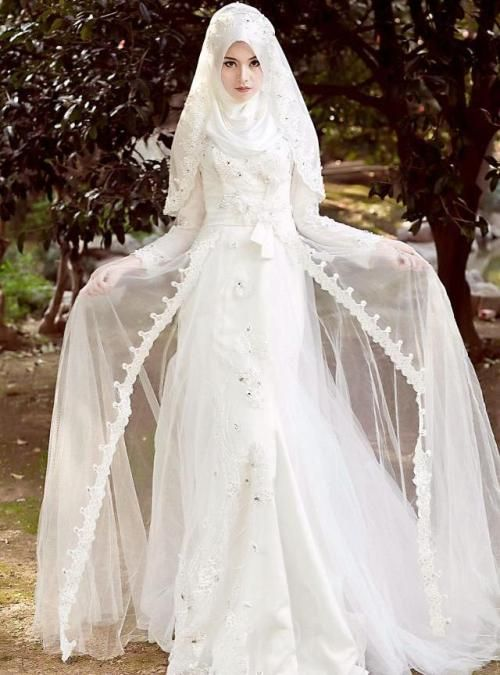 Baju pengantin muslim putih-1