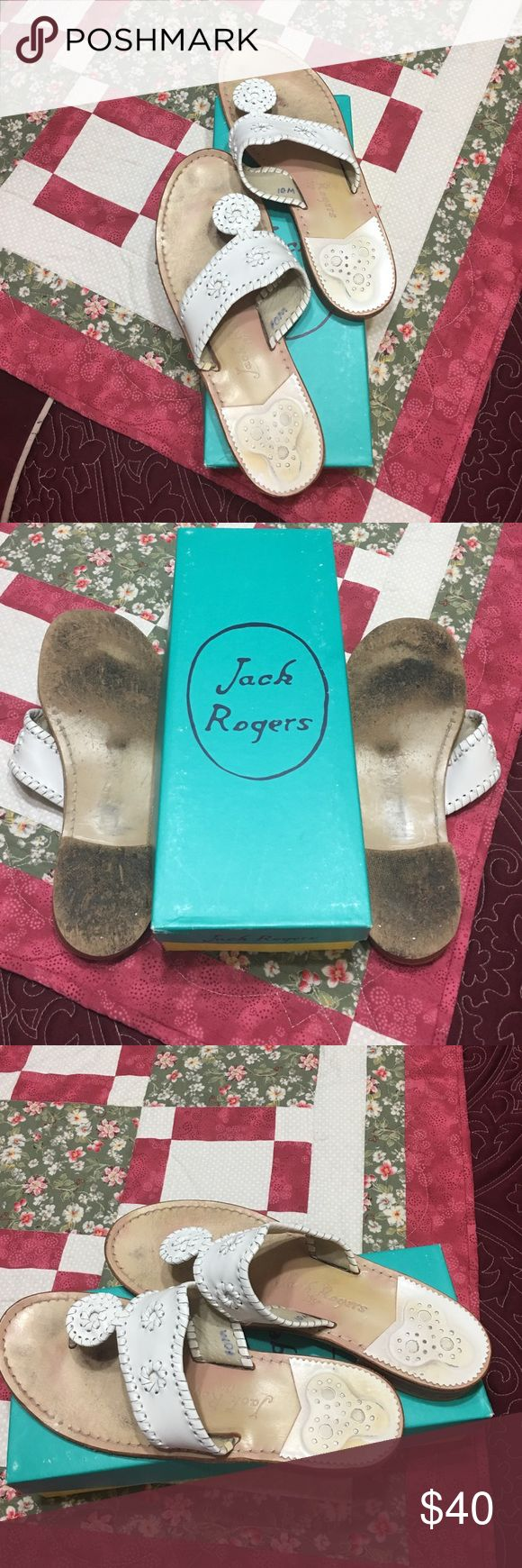 Jack Rogers Palm Beach Flat Size 10 Gently used but with lots of wear left. Leather white sandals by Jack Rogers. LMK if you'd like the box.  Thanks! Jack Rogers Shoes Sandals