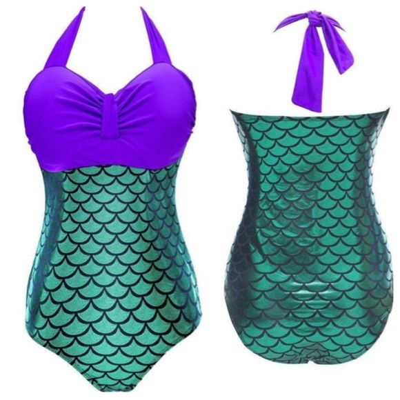 Coming Soon! Plus Sz Mermaid 1 piece bathing suit You will feel like the Little Mermaid  in this flattering one piece. Coming in XL XXL, XXXL firm price $35 made of 80% chinlon 20% Spandex Lining 80% terylene 20%  Spandex. Naturally Spiritual Boutique Swim One Pieces
