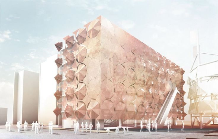 Umbrella facade by 3GATTI. The new façade for the ex Madrid pavilion in the Shanghai Expo site allows people to interact with it. They can open or close the shades to protect the glass from the sun and allow more light during the winter. Façade contains umbrellas which can be fully opened and make the façade completely flat or closed - then the light is able to fully come inside. The mechanical parts are made of stainless steel, the frames of aluminum and the external surface of thin corten.