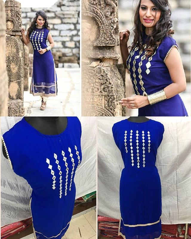 "Original pic available GlamMore Presents Designer wear @Just 950/- INR only.  Design No : FT Blue Mirror Kurti  Material : TOP : GEORGETTE INNER : SANTOON SLEEVES: INSIDE (HALF) LENGTH: 44"" *WORK:* ORIGINAL MIROR, LACE WORK *TYPE:* FULLSTITCHED UP TO XXL NEED ALTERATION  Contact / Whatsapp us on : +918347800028 glammore28@gmail.com"