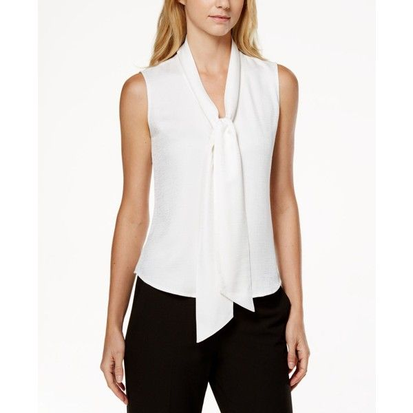 Calvin Klein Sleeveless Tie-Neck Blouse ($50) ❤ liked on Polyvore featuring tops, blouses, white, calvin klein tops, white sleeveless top, tie neck blouse, white sleeveless blouse and white top