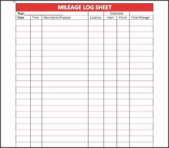 Free Printable Mileage Logs Templates Mileage Excel Templates