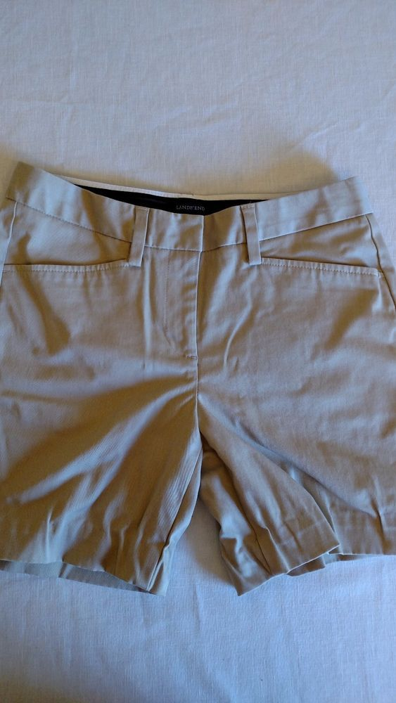 Lands End Women's Shorts Beige Size 4 Zip Front Side Pockets  #LandsEnd #DressShorts