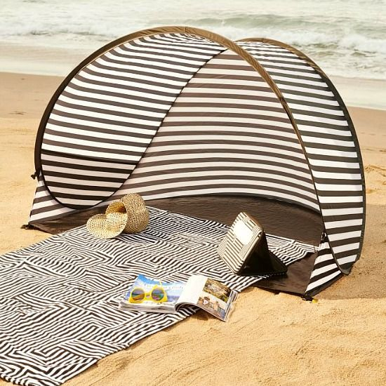 Beach Tent that comes in a Bag! Featured here: http://beachblissliving.com/small-beach-gifts-for-any-occasion-from-west-elm/