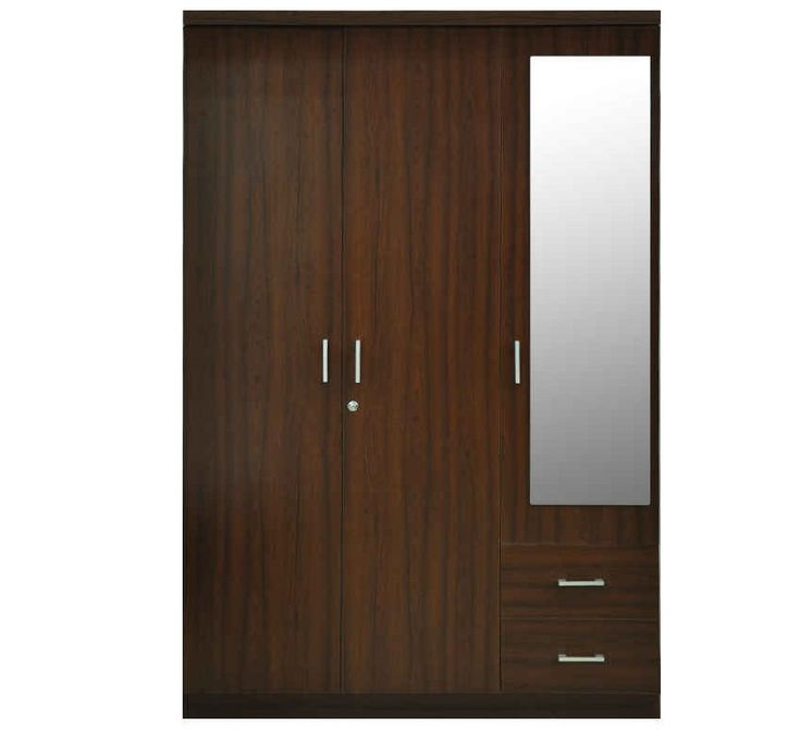 Three Doors With Glass And Two Draws Wardrobe Design Id557 - Three Door Wardrobe Designs - Wardrobe Designs - Product Design