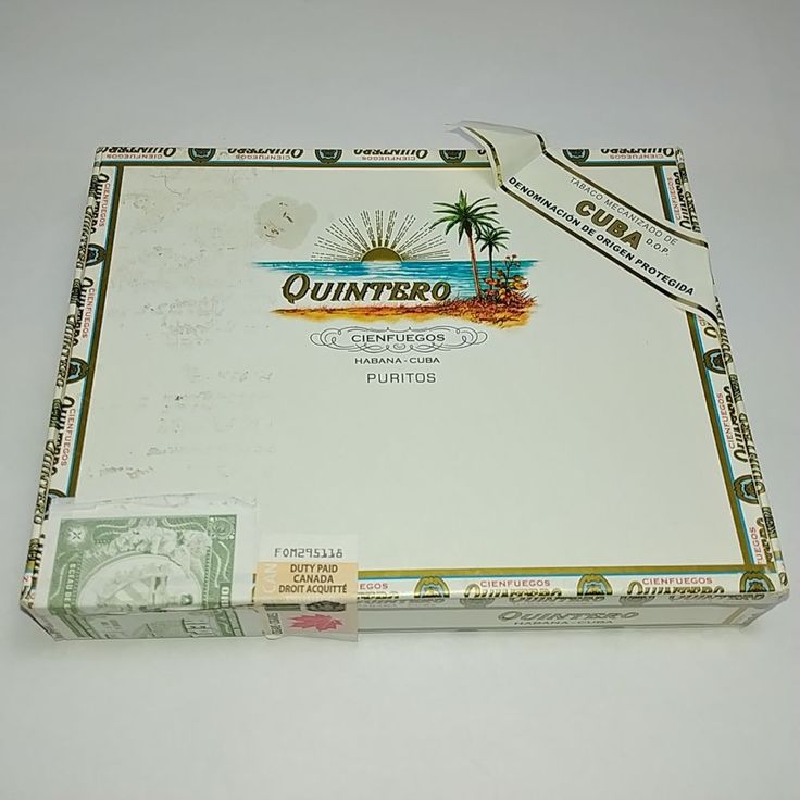 Habanos Quintero 25 Puritos Empty Cigar Box Habana Imported to Canada