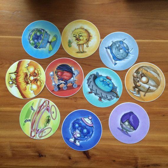 Set of ten (10) 3in.x3in. Stickers featuring all of the planets from the Happy Planet series. Includes ALL 10: Sun Mercury Venus Earth Mars Jupiter Saturn Uranus Neptune Pluto  SHIPPING: Each pack will be placed in a bubble wrap envelope.