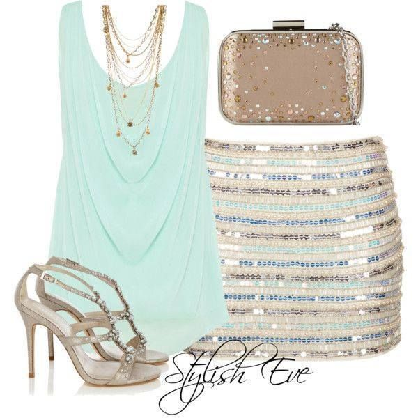Baby green dressy draped tank top with a tan, blue, baby green, and white sequined fitted mini skirt and silvery gold strappy heel sandals. A sequined dark tan/gold clutch and delicate gold multi chain necklace.