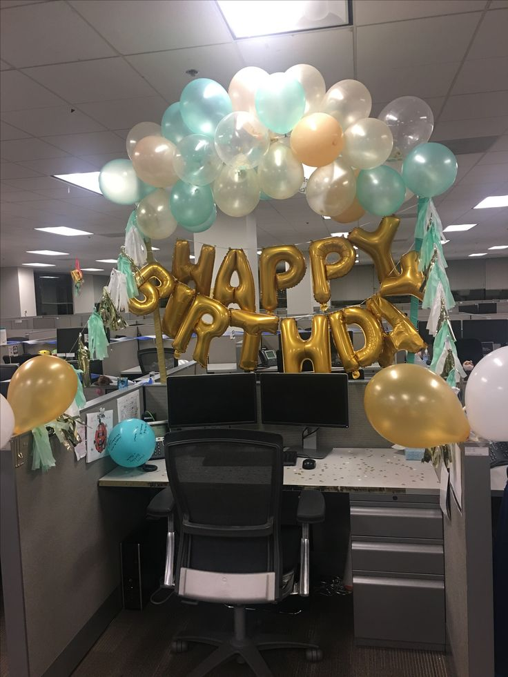 Mint green and gold desk birthday decorations office for How to decorate desk in office