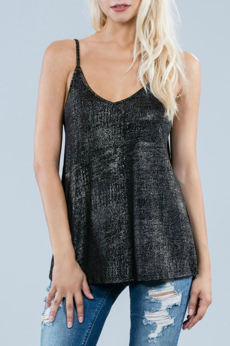 Metallic knit foil cami top. Criss cross in the back. This is not your average cami. A geat piece for a night out. This top pairs beautifully with jeans and high boots.     Metallic Cami Top by Ark & Co.. Clothing - Tops - Tees & Tanks New York