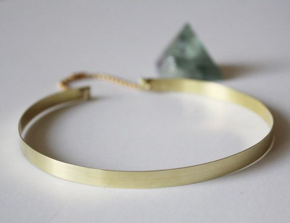 90's Style Very Thin Metal Choker Necklace Gold Tone by ABAJewels