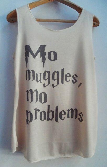 Camicia di Babbani Mo Mo problemi di Harry Potter Tank Top Pop Punk Rock Tank Top gilet donna Swag T film dimensioni di t-shirt, M, L