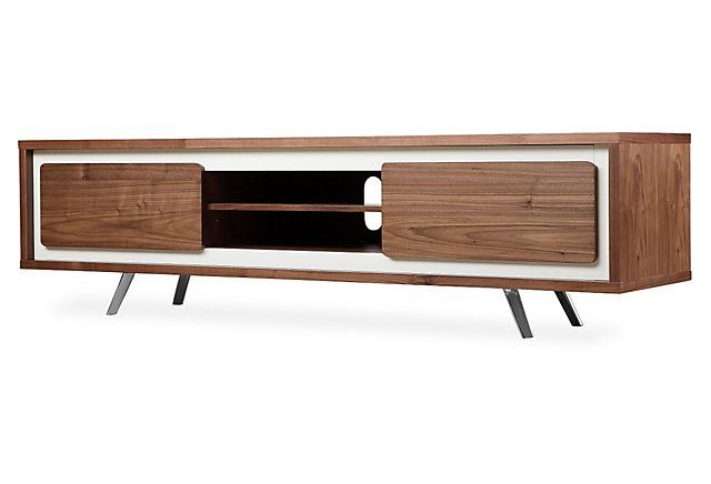 Hal Large TV Stand, White/Walnut | Contemporary Cool | One Kings Lane