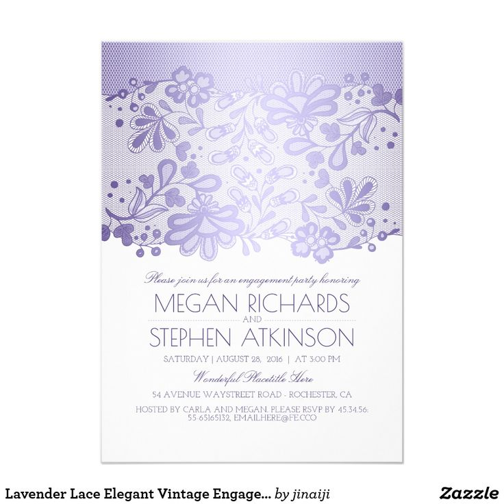 Lavender Lace Elegant Vintage Engagement Party Card Lavender purple and white lace engagement party invitation.