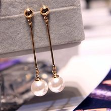Korean Star The Same Paragraph Fashion Imitation Pearl Tassel Earrings Wholesale Jewelry Earrings Female Long Section  Vintage(China (Mainland))