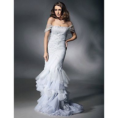 1 x Trumpet / Mermaid Dress inspired by Heidi Klum Size = 6 ( 35inch, 24inch, 35inch ), Color Silver