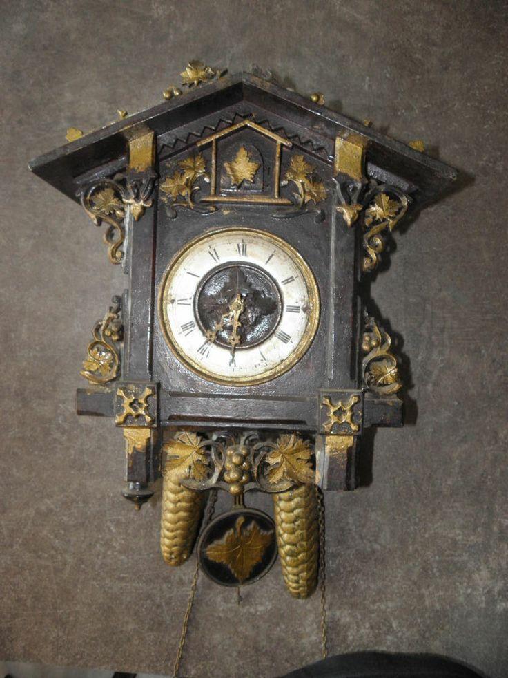retro antique cuckoo clock Victorian Antik Kuckucksuhr Carved wood BLACK FOREST