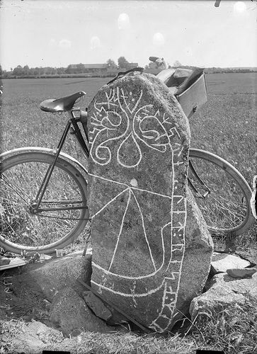 """Bicycle leaning against a rune stone (Vs 17) in Råby. The inscription says: """"Holmsten had the memorial raised in memory of Tidfrid, his wife, and in memory of himself"""".  Cykel lutad mot en runsten (Vs 17) i Råby. Ristningen säger: """"Holmsten lät resa minnesmärket efter Tidfrid, sin hustru, och efter sig själv"""".  Parish (socken): Tortuna Province (landskap): Västmanland Municipality (kommun): Västerås County (län): Västmanland  Photograph by: Possibly Erik Brate Date: c. 1900 Format: Glass…"""