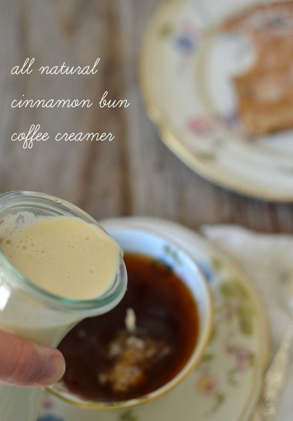 All Natural Cinnamon Bun Coffee Creamer made with organic cream and maple syrup | mountainmamacooks.com