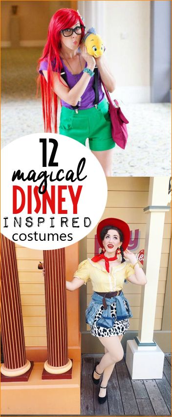 12 Magical Disney Inspired Costumes.  Disney character costumes for kids and adults.  Disney Princess, Finding Nemo, Beauty and The Beast, Dumbo, Alice in Wonderland, Ratatouille characters.  Creative Halloween DIY costumes.