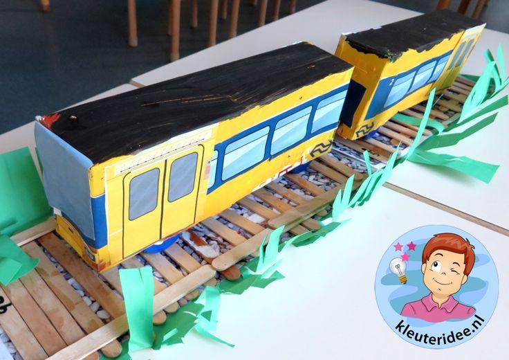 Knipbladen voor het maken van treinen met kleuters, kleuteridee.nl, train printables for kindergarten, free printable