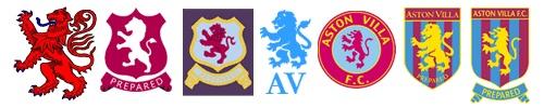 The many badges of the mighty ASTON VILLA.