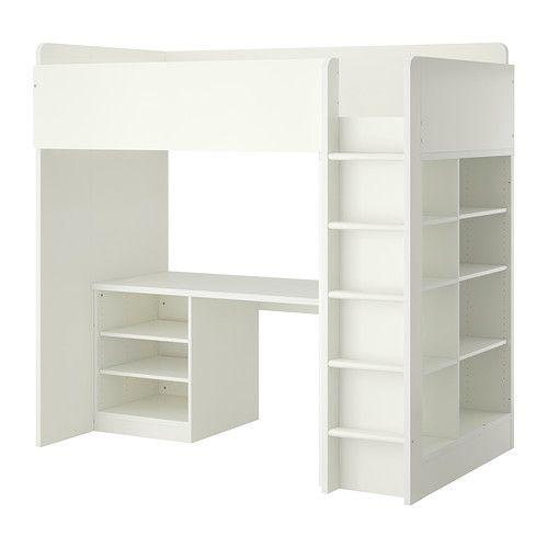 IKEA - STUVA, ロフトベッドフレーム デスク&収納付き(棚板×2/棚板×3), , このロフトベッドなら、デスクやワードローブ、オープンシェルフユニットまで、子供部屋に必要なすべてが一度にそろいますデスクはベッドに平行または垂直に設置できます。ADILS/オディリス 脚を2本取り付ければ、独立型のデスクとしても使用できますデスクをベッドに対して垂直に設置すると、ロフトベッドの内側と外側からワードローブにアクセスできます足を滑らせないよう、はしごの各ステップに滑り止めの溝がありますデスクの奥に配線口が開いているので、コードをすっきりまとめて配線できます