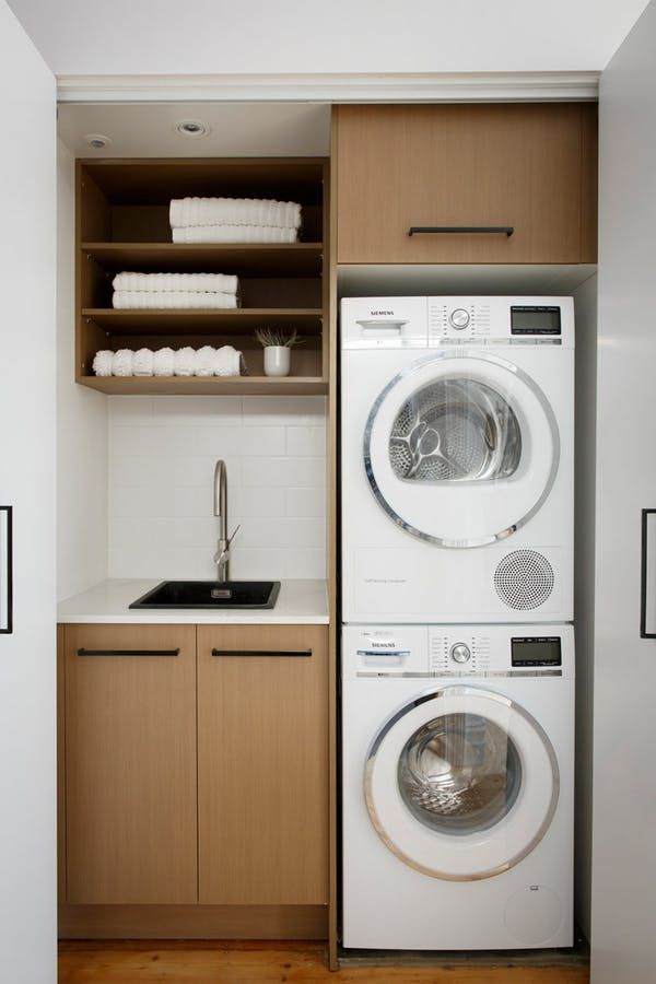 Like that the stacked washer/dryer would allow more cupboard space. Would there still be room for airer?