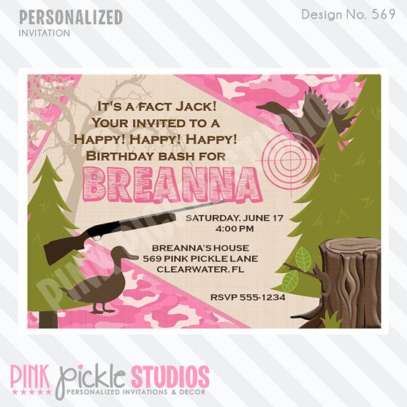 Hunting Pink Camo Invitation or Thank You by PinkPickleParties, $10.00 Duck Dynasty