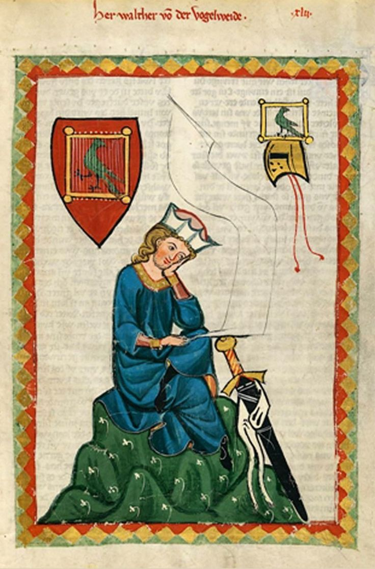 """'portrait' of the Minnesanger, Walter von der Vogelweide from the early 14C """"Manessische Liederhandschrift"""" illuminated in Zurich and now in the Heidelberg UL. It is clear from the poem the portrait 'illustrates' -- and in which he dscribed this gesture in great detail -- that it conveys deep thought."""