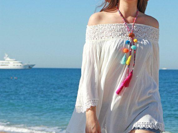 Pompom bolo tie Hippie chic necklace Wooden Bolo by CosmiziAvocado