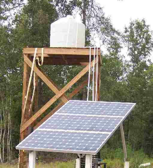 Using the solar well to fill a cistern tank and an on-demand diaphragm pump to supply pressured water from the tank to a house's plumbing is a very efficient way to meet domestic needs.