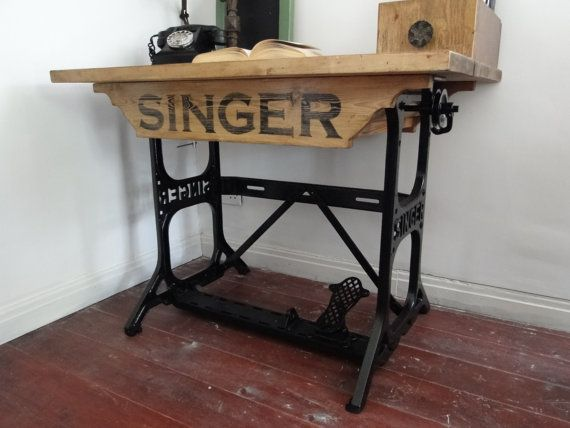 Amazing Repurposed Desk   Rustic Reclaimed Wood On Cast Iron Industrial Singer  Sewing Table Base On Etsy