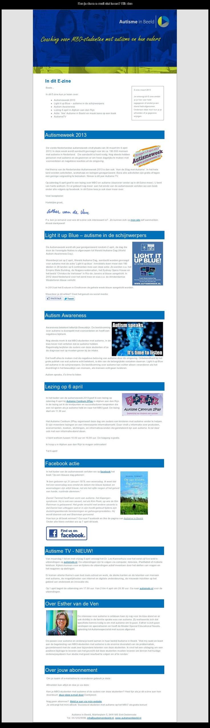 De nieuwsbrief van www.autismeinbeeld.nl