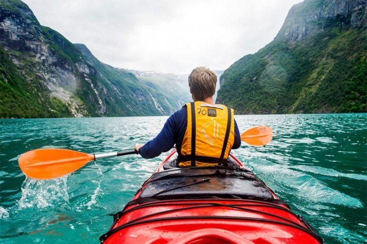 Kayak in Geirangerfjorden, Norway
