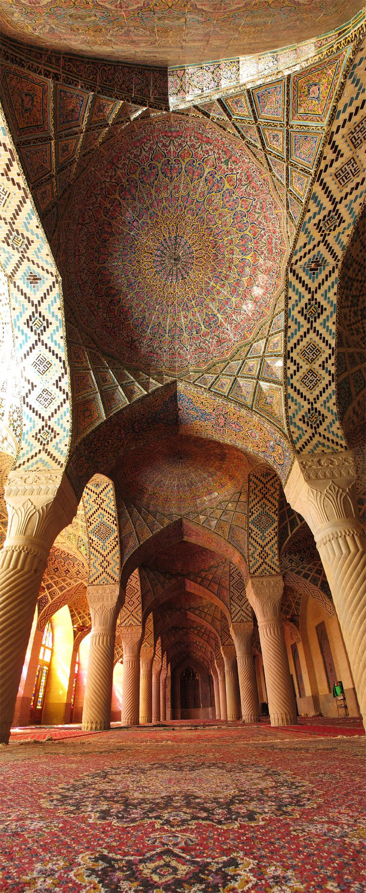 Interior of an unknown Islamic style structure. The tile mosaic work is extraordinary. I'm not sure but I'm guessing it might be in Iran.