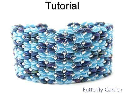 Beaded SuperDuo Butterfly Garden Bracelet Beading Pattern Tutorial | Simple Bead Patterns