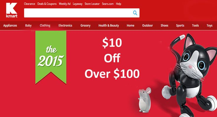 Get $10 off when your order is $100 or more. For more Kmart coupon codes & promos visit: http://www.couponcutcode.com/stores/kmart/