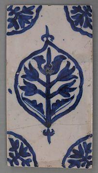 ¤ first quarter 18th century tile :Turkey, Kutahya Medium: Composite body; underglaze painted in cobalt Dimensions: 9 15/16 x 5 5/16 in. (25.2 x 13.5 cm)