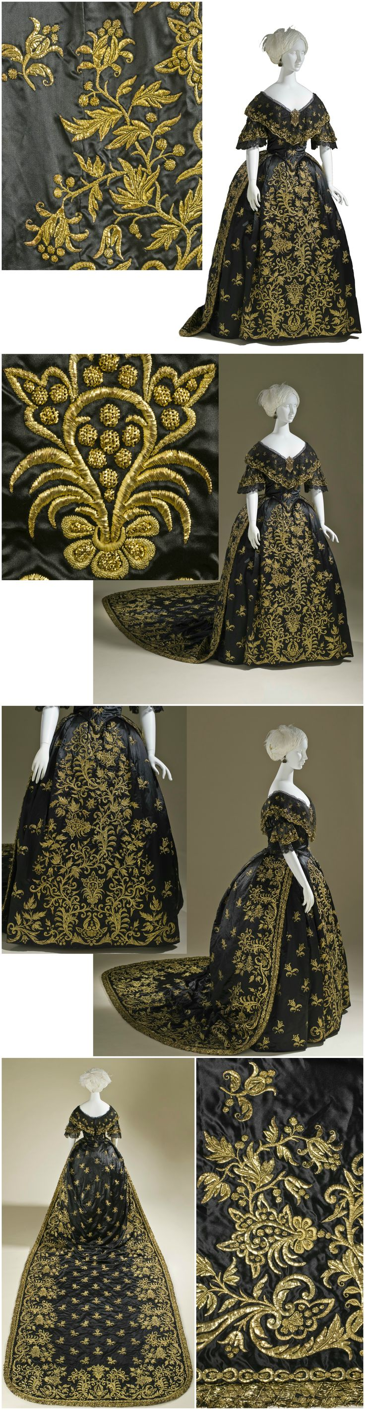 Woman's Dress and Train, Portugal, c. 1845. Silk satin with metallic-thread embroidery and silk net (tulle) trim. Said to have been worn by Queen Maria II of Portugal (reigned 1826-53) in 1850. Collection of the Los Angeles County Museum of Art (LACMA). CLICK FOR VERY LARGE, HI-RES  IMAGES.
