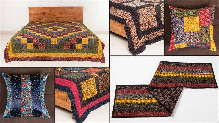 ☘ Tagai Embroidered Ajrakh Double Bed Covers, Cushion Covers & Table Runners by Ramji Devraj ☘