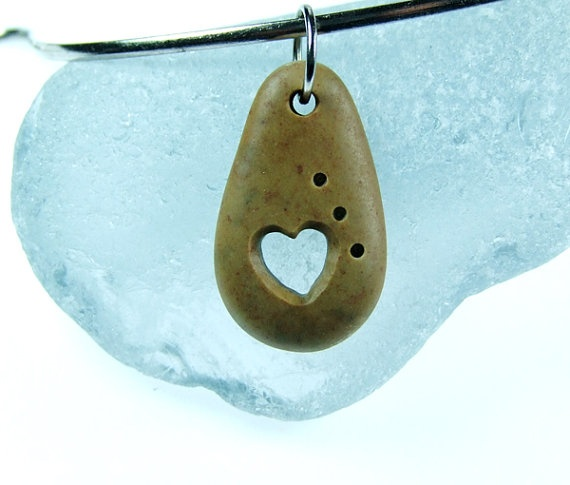 Beach Stone Pendant Carved Heart Bead for Valintine's by Sisyen, $15.00